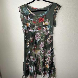 Made in Italy Silk Hawaiian Mini Dress